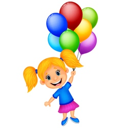 Young girl cartoon flying with balloon vector image