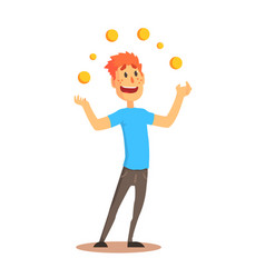 young man character juggling with orange balls vector image