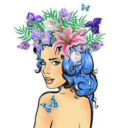 beautiful feminine girl with butterfly and flower vector image