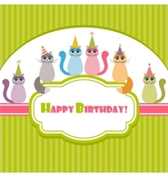 Birthday card with cats vector