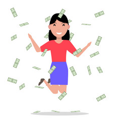 cartoon woman jumping joy falling money vector image vector image