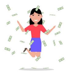 cartoon woman jumping joy falling money vector image