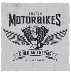 custom motorbikes poster vector image vector image