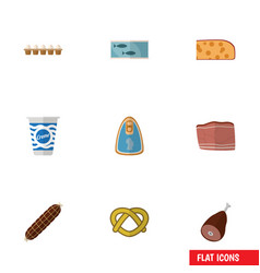 Flat icon food set of eggshell box cookie meat vector