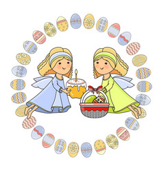 greeting card with angel basket cake and vector image vector image