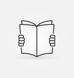 hands holding a book icon vector image vector image