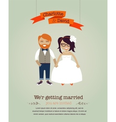 Hipster wedding invitation card vector image vector image