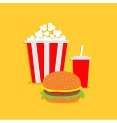 Popcorn hamburger soda with straw Cinema icon vector image vector image