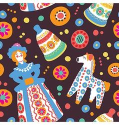 Russian souvenir Dymkovo toys seamless pattern vector image vector image