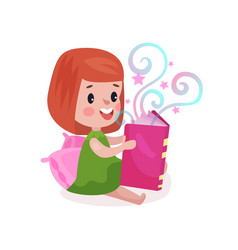 sweet little girl sitting on a pillow and reading vector image vector image