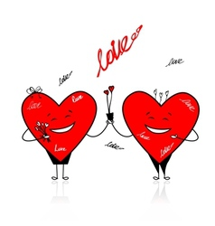 Valentine day Funny hearts with bouquet for your vector image vector image
