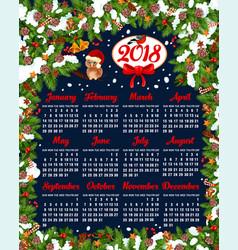 2018 christmas new year calendar template vector