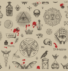 Abstract seamless pattern on a satanic theme vector
