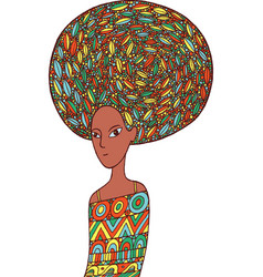 african woman in an ethnic dress doodle cartoon vector image