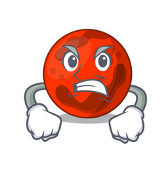 Angry mars planet mascot cartoon vector