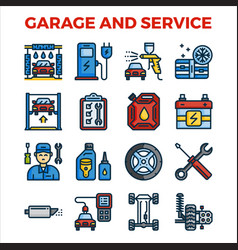 Automotive garage and service outline color icon vector