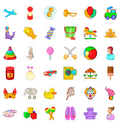 baby toy icons set cartoon style vector image
