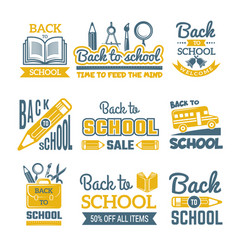 back to school labels set monochrome vector image