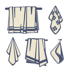 bathrooms textile towels icons of set vector image
