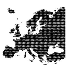 binary code europe map concept design isolated on vector image