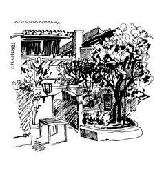Black and white sketch drawing of Slovenska Plaza vector