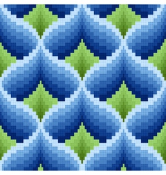 Blue and green ornamental seamless pattern vector image