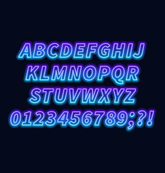 blue purple gradient neon alphabet on a dark vector image