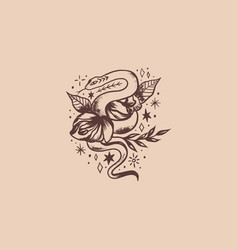 boho vintage isolated snake and flower art vector image