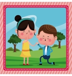 Boy propossal girl happy rural landscape vector