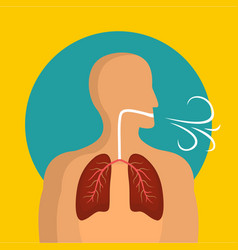 Breathing lungs icon flat style vector