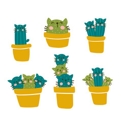 cactus cat set vector image