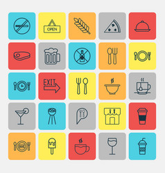 Cafe icons set collection of meal hour hot drink vector