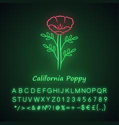 california poppy neon light icon papaver rhoeas vector image