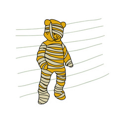 cartoon doodle teddy bear is a mummy vector image