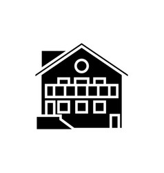 chalet icon black sign on vector image