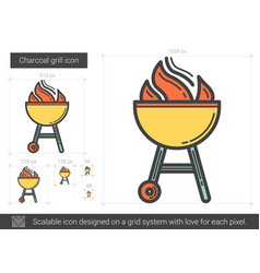 charcoal grill line icon vector image