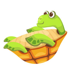 Cheerful turtle icon cartoon style vector