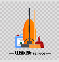Cleaning service set house cleaning tools with vector