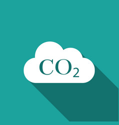 Co2 emissions in cloud icon with long shadow vector