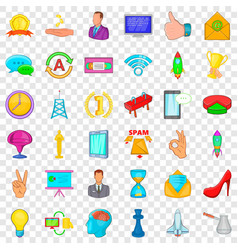coaching icons set cartoon style vector image