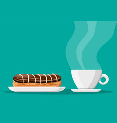 Coffee cup and eclair cake vector