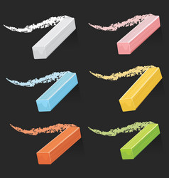 colored artist chalks pastel sticks with strokes vector image vector image