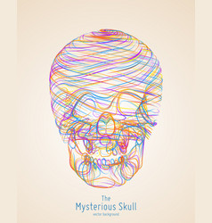 colorful skull constructed with bright vector image