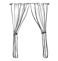 curtains sketch hand drawn interior vector image