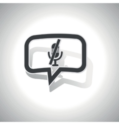 Curved muted microphone message icon vector