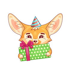 cute fennec fox in a party hat with gift box vector image