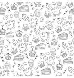 Doodle BakeryCakes and dessert tea vector image