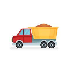 dump truck with sand heavy machine using in vector image