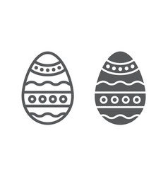 easter egg line and glyph icon decoration and vector image