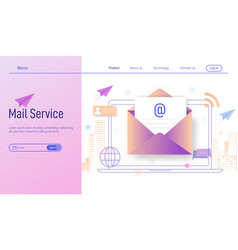 electronic mail or email services modern flat vector image